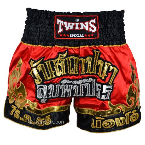 Twins TWS-891 Red/Gold-Black Muay Thai Shorts
